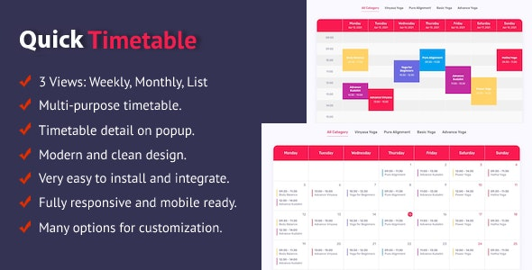 Quick Timetable For WordPress - CodeCanyon Item for Sale