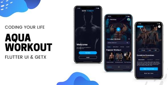 Aqua Workout (Fitness) App v1.0 - Flutter UI Kit using GetX