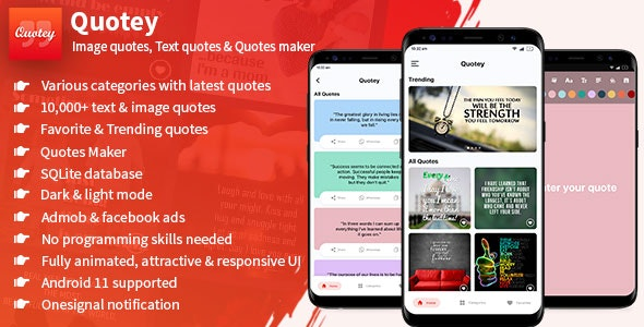 Quotey - Image Quotes, Text Quotes & Quotes Maker (Fully Animated UI) - CodeCanyon Item for Sale