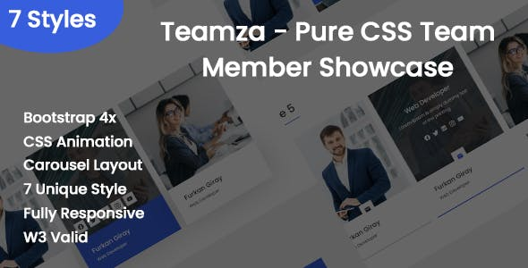 Teamza - Pure CSS Team Member Showcase