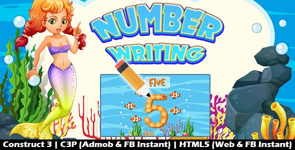 Number Writing Kids Learning Game (Construct 3 | C3P | HTML5) Admob and FB Instant Ready