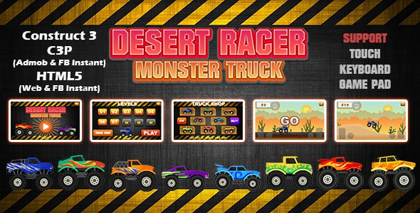 Desert Racer Monster Truck Racing Game (Construct 3   C3P   HTML5) Admob and FB Instant Ready - CodeCanyon Item for Sale