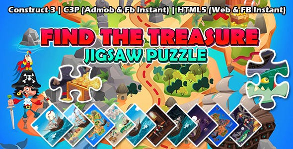 Find the Treasure Jigsaw Puzzle Game (Construct 3   C3P   HTML5) Admob and FB Instant Ready
