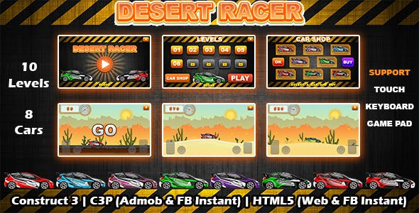 Desert Racer Car Racing Game (Construct 3 | C3P | HTML5) Admob and FB Instant Ready