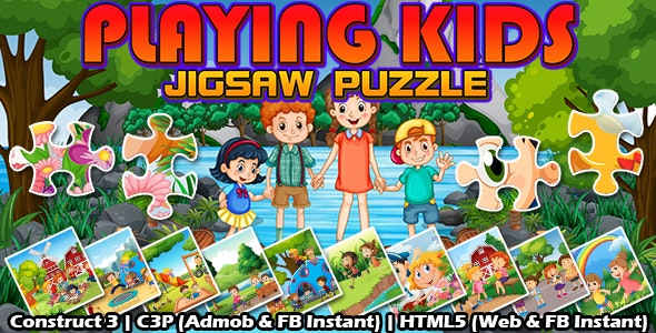 Playing Kids Jigsaw Puzzle Game (Construct 3   C3P   HTML5) Admob and FB Instant Ready - CodeCanyon Item for Sale