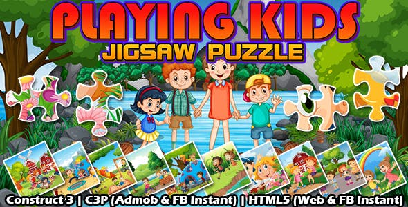 Playing Kids Jigsaw Puzzle Game (Construct 3 | C3P | HTML5) Admob and FB Instant Ready