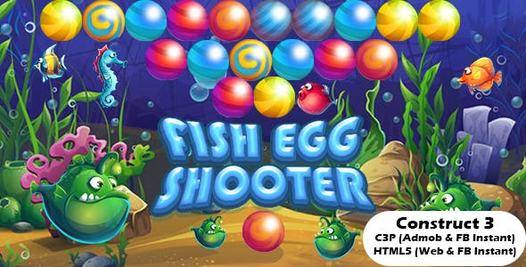Fish Egg Shooter Bubble Shooter Game (Construct 3 | C3P | HTML5) Admob and FB Instant Ready