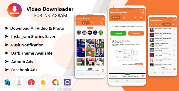 Instagram Downloader - Videos, Photos, Stories, Reels, ITGV - All In One Instagram Downloader App - CodeCanyon Item for Sale