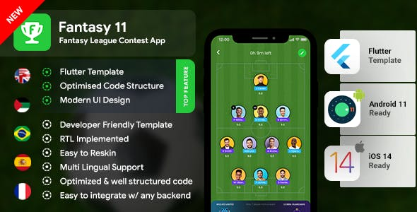 Fantasy League Contest Sports Android App Template+ iOS App Template   Flutter 2   Fantasy 11