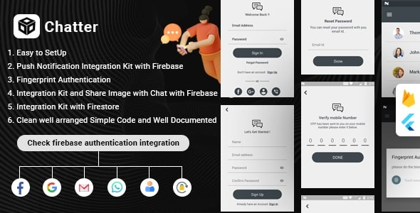 Flutter Firebase Chat , Authentication & Social Media Integration - Chatter - CodeCanyon Item for Sale