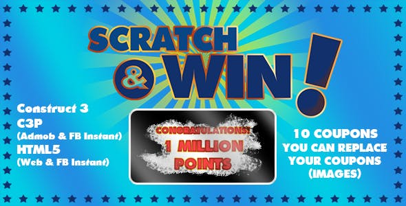 Scratch & Win Game (Construct 3 | C3P | HTML5) Admob and FB Instant Ready