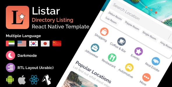 Listar - mobile React Native directory listing app template - CodeCanyon Item for Sale