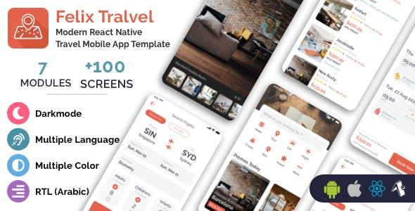 Felix Travel - mobile React Native travel app template