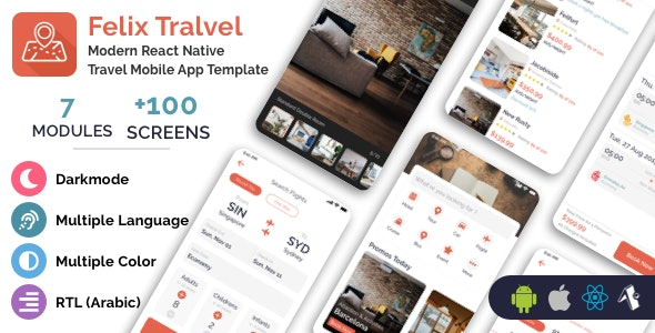 Felix Travel - mobile React Native travel app template - CodeCanyon Item for Sale