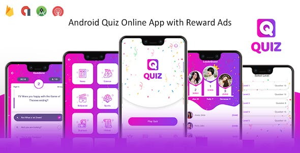 Quiz Online App with Earning System & Reward Ads + Admin Panel
