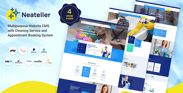 Neateller - Multipurpose Website CMS with Cleaning Service and Appointment Booking System - CodeCanyon Item for Sale