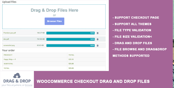 WooCommerce Checkout Drag and Drop Files Upload