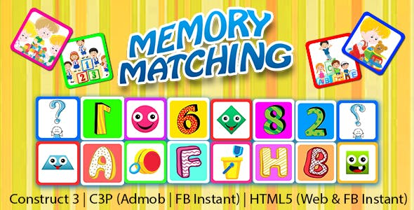 Memory Matching Game for Kids (Construct 3 | C3P | HTML5) Admob and FB Instant Ready