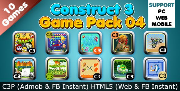 Game Collection 04 (Construct 3 | C3P | HTML5) 10 Games Admob and FB Instant Ready
