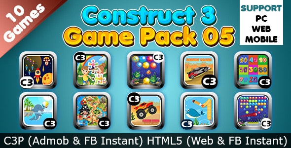 Game Collection 05 (Construct 3 | C3P | HTML5) 10 Games Admob and FB Instant Ready - CodeCanyon Item for Sale