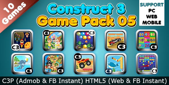 Game Collection 05 (Construct 3 | C3P | HTML5) 10 Games Admob and FB Instant Ready