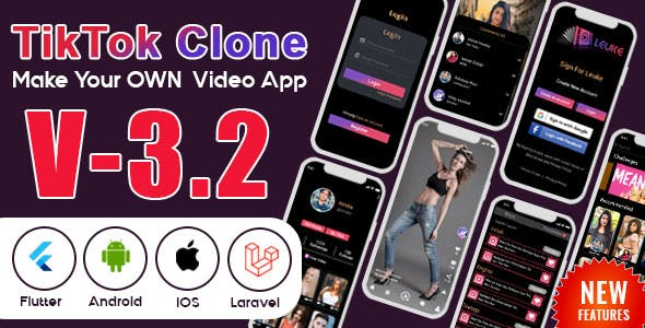 Flutter - TikTok Clone | Triller Clone & Short Video Streaming Mobile App for Android & iOS
