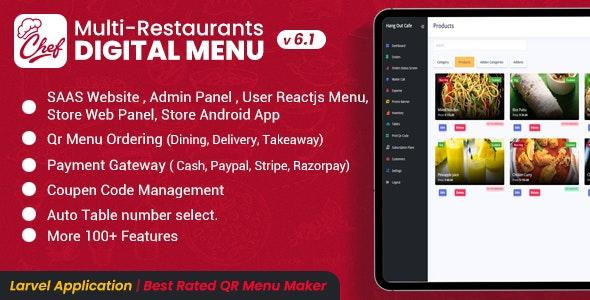 CHEF v6.1 – SaaS – Contactless Multi-restaurant QR Menu Make
