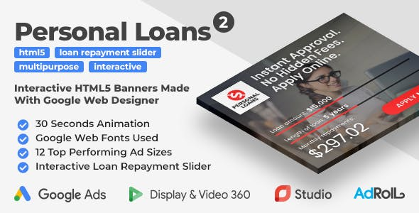 Personal Loans 2 - Animated HTML5 Banner Ad Templates With Interactive Loan Repayment Slider (GWD)