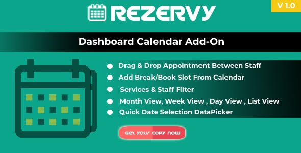 Rezervy - Drag & Drop, Month, Week, Day , List View & Filters Appointments Calendar (Add-On)