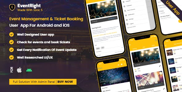 User App - Ticket Sales and Event Booking & Management System Event Right