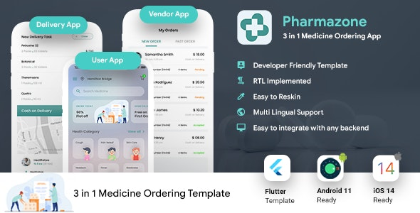 Online Medicine Ordering Android App + Online Medicine iOS App Template 3 Apps  Flutter 2 Pharmazone - CodeCanyon Item for Sale