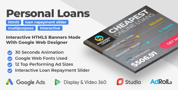 Personal Loans - Animated HTML5 Banner Ad Templates With Interactive Loan Repayment Slider (GWD)