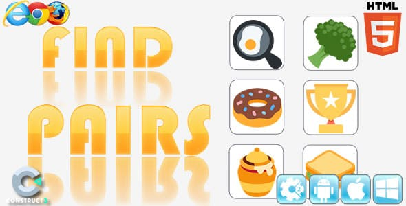 Find Pairs - HTML5 Game - Construct 3 (c3p)