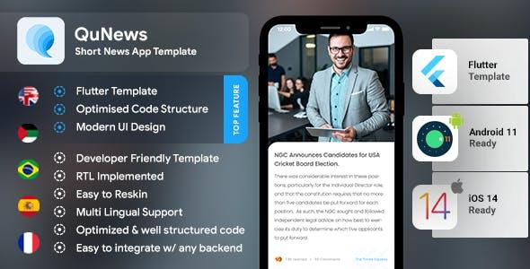 Short News Android App Template + iOS App Template | FLUTTER 2 | QuNews