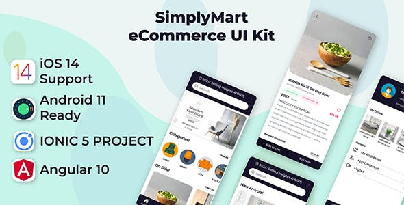 SimplyMart Mobile App Template | Android App + Ecommerce iOS App Template | Angular 10 | Ionic 5