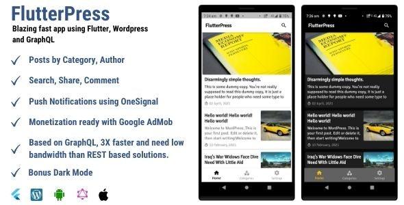 FlutterPress : Convert your Wordpress blog into app with GraphQL - CodeCanyon Item for Sale