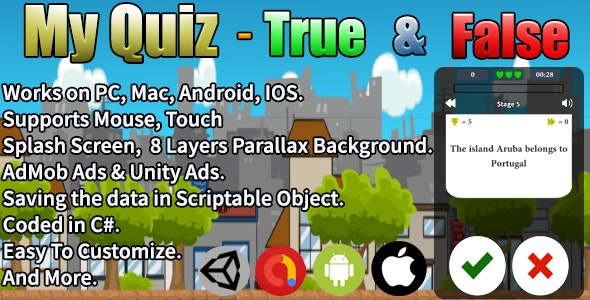 My Quiz - True & False (Unity Complete Project + AdMob Ads & Unity Ads) - CodeCanyon Item for Sale