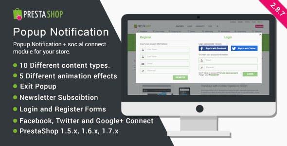 Popup Notification + Social Connect - PrestaShop Module