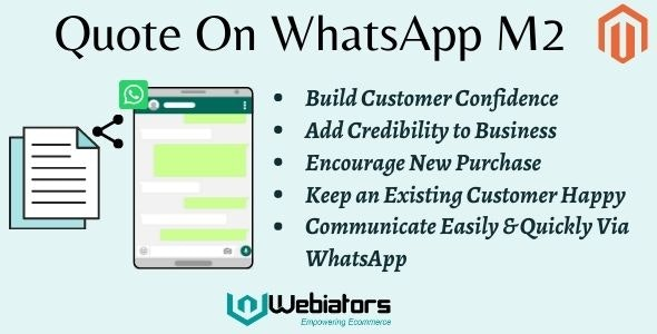 Magento 2 Whatsapp Quote By Webiators - CodeCanyon Item for Sale