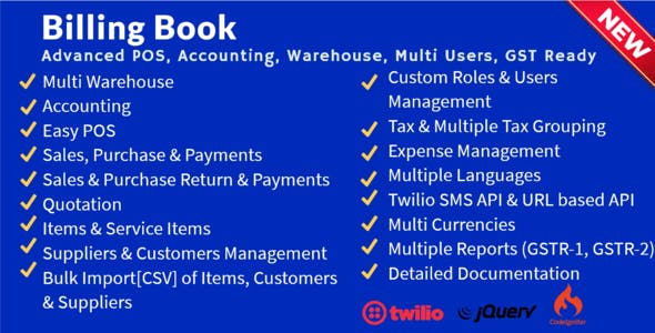 Billing Book -Advanced POS, Inventory, Accounting, Warehouse, Multi Users, GST Ready
