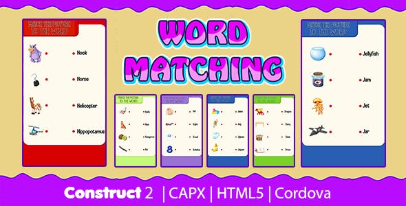 Word Matching Game (CAPX | HTML5 | Cordova) Kids Learning Game