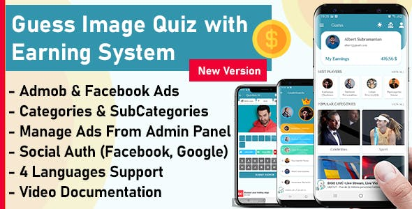 Guess Image And Earn Money App + Admin Panel