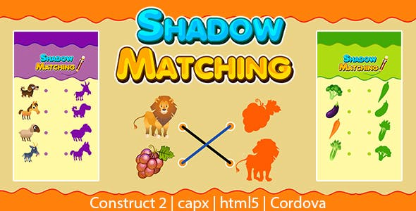 Shadow Matching Game (CAPX | HTML5 | Cordova) Kids Learning Game