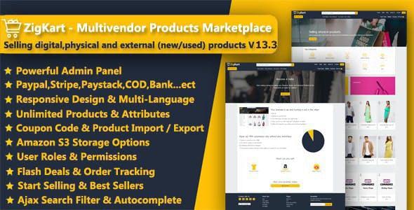 ZigKart - Single Vendor or Multi Vendor Products Marketplace