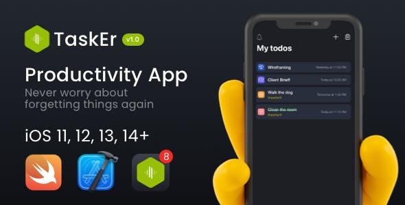 TaskEr - A powerful Todo iOS App (Swift)