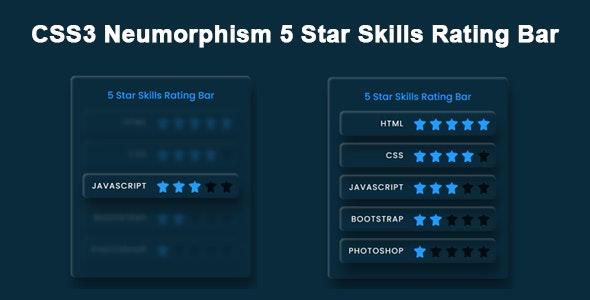 CSS3 Neumorphism 5 Star Skills Rating Bar - CodeCanyon Item for Sale