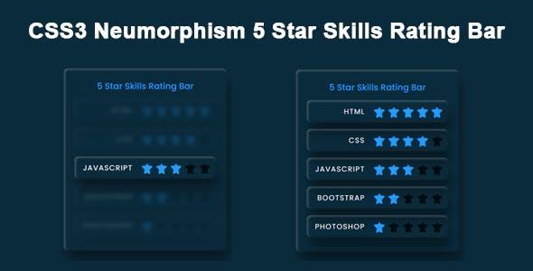 CSS3 Neumorphism 5 Star Skills Rating Bar