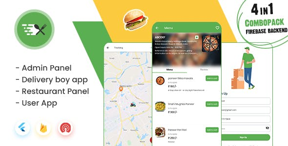 MightyFood: Online Food Ordering App with Firebase Backend, Admin/Restaurant Panel, Delivery boy app