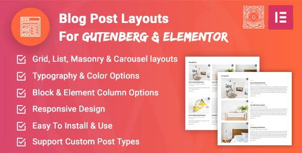 Blog Post Layouts for Gutenberg and Elementor