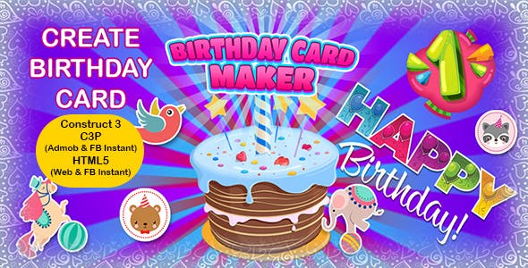 Birthday Card Maker App (Construct 3 | C3P | HTML5) Admob and FB Instant Ready
